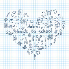 Back to school.  Doodle pen drawn background. Hand drawn colored vector design elements on  sketchbook checkered paper background. Vector illustration.