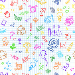 Back to school.  Doodle pen drawn background. Seamless pattern. Hand drawn colored vector design elements on  sketchbook checkered paper background. Vector illustration.