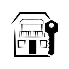 home house key silhouette real estate icon. Flat and Isolated design. Vector illustration