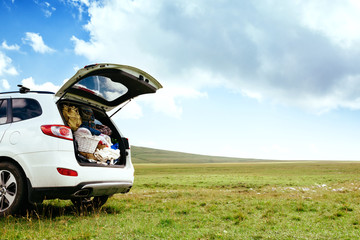 Car with full trunk in field