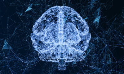 Brain hi-tech technology. Concept of human intelligence. Render illustration of the human brain