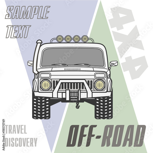 Off road 4x4 car truck equipment line draw icon set\
