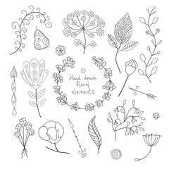 Hand drawn vintage decoration items. Black outline on white background. Flowers sketch set.