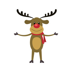 reindeer deer cartoon merry chistmas celebration icon. Flat and Isolated illustration. Vector illustration