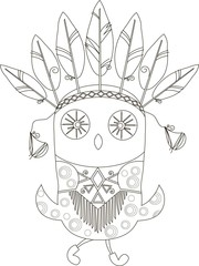 Black-white owl with ethnic indian jewelry for coloring page, anti stress, vector illustration