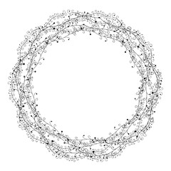 Floral wreath isolated on white. Floral Frame for wedding invitations and birthday cards.