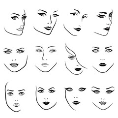 Set of twelve outlines of young women faces