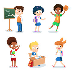 Set of cheerful school children. Students cartoon characters vector isolated on white background.