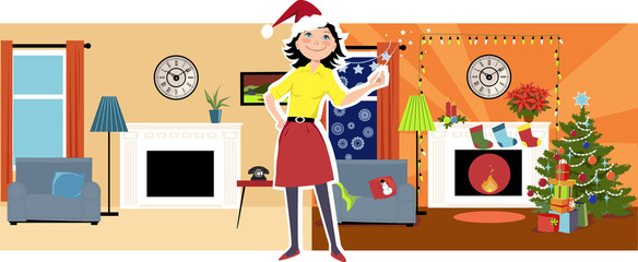 Deck the hall. Woman in a Santa's hat standing between illustrations of a house before and after it was decorated for Christmas, EPS 8 vector illustration