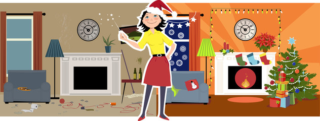 Woman in a Santa's hat transforming a messy dirty living room into a cozy Christmas decorated room, EPS 8 vector illustration