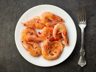 fried prawns on white plate