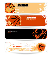 banner design template for the game of basketball, grunge style, wave, spray, game background