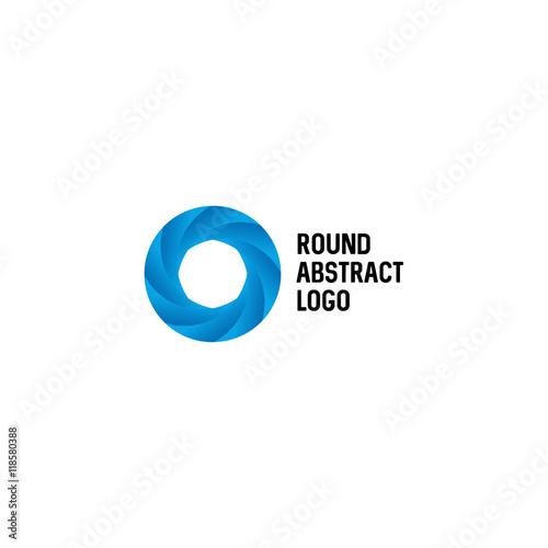 Isolated Abstract Circular Shape Vector Logo Blue Color Wheel On