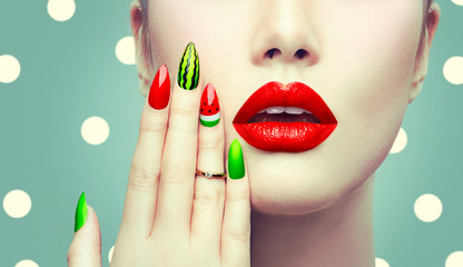 Foto op Plexiglas Fashion Lips Watermelon nail art and makeup closeup over polka dots background