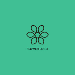 Isolated vector flower logo. Outlined flower on the turquoise background logo.