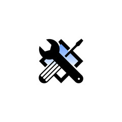 Isolated black and blue color technical tools vector logo. Mechanical equipment logotype. Round shape vector illustration. Adjustable wrench and screwdriver image.