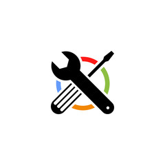 Isolated colorful technical tools vector logo. Mechanical equipment logotype. Round shape vector illustration. Adjustable wrench and screwdriver image.