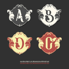 Vector collection of logos, monograms alphabet. Unusual alphabet on billboards. Coats of arms in renaissance and baroque style. Curly patterns. Unusual vintage logo.