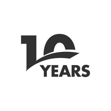 Isolated abstract 10 years anniversary vector logo. Happy 10th birthday greeting card. Black color writing on the white background.