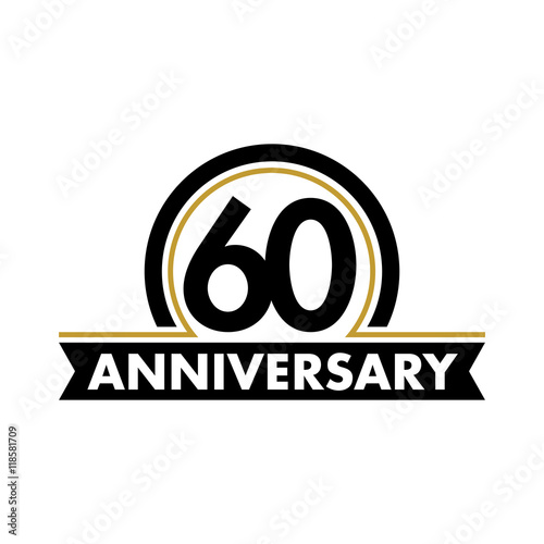 Quotanniversary vector unusual label sixtieth anniversary for 60 wedding anniversary symbol