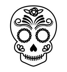 skull drawing tattoo style isolated icon