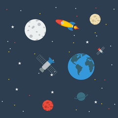 Outer Space | Editable vector illustration in flat style