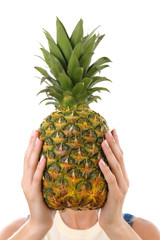 Woman holding pineapple, isolated on white