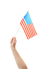 Female hand holding American flag, isolated on white