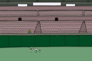 Male spectator watching baseball player chase ball