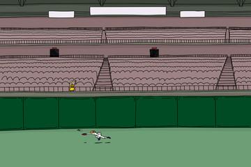 Female spectator waving as baseball player chases ball