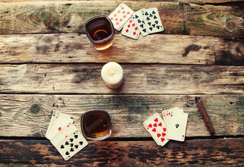 Old wooden table to play cards from above