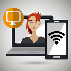 character laptop cellphone app vector illustration graphic