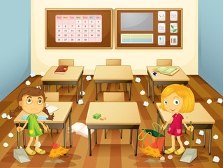 Two students cleaning the classroom