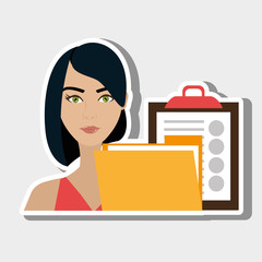 woman clipboard folder file vector illustration graphic