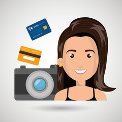 character camera photography and credit card vector illustration