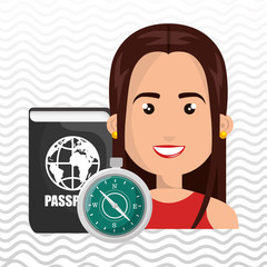 woman password id travel vector illustration eps 10