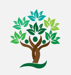 Logo tree people teamwork. Ecology concept  icon vector design