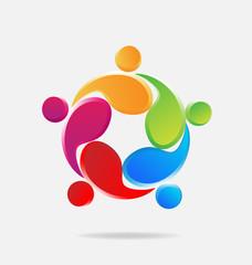 Logo teamwork hug people business identity card