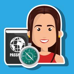 woman password id travel vector illustration eps 10