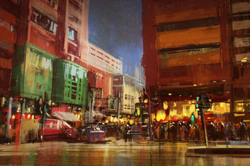 colorful painting of street city,urban,cityscape,illustration