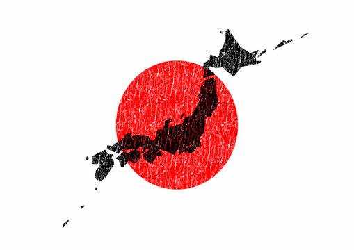 日本国旗と日本地図