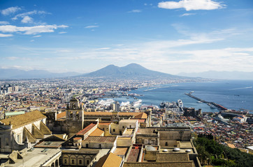 Naples view with mount etna