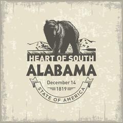 Алабама, стилизованная эмблема штата Америки, Медведь, винтаж