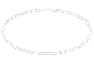 Oval Frame from rope, isolated on white
