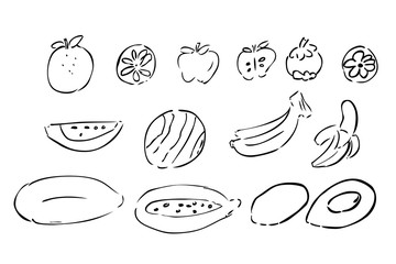 hand draw outline sketch of fruits, black outline, isolated on white