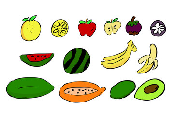 hand draw outline sketch of fruits