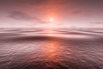 Wall Mural - a red sunset over the sea
