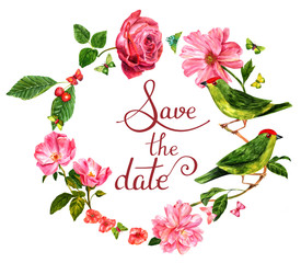 'Save the date' card with watercolor birds and flowers