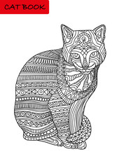 Black and white coloring page for adults. Colorized cat with patterns. Vector illustration. Cat book