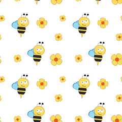 Cartoon bees with different flowers.